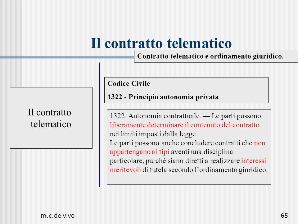 m.c.de vivo65 Il contratto telematico Contratto telematico e ordinamento giuridico. Il contratto telematico Codice Civile 1322 - Principio autonomia p