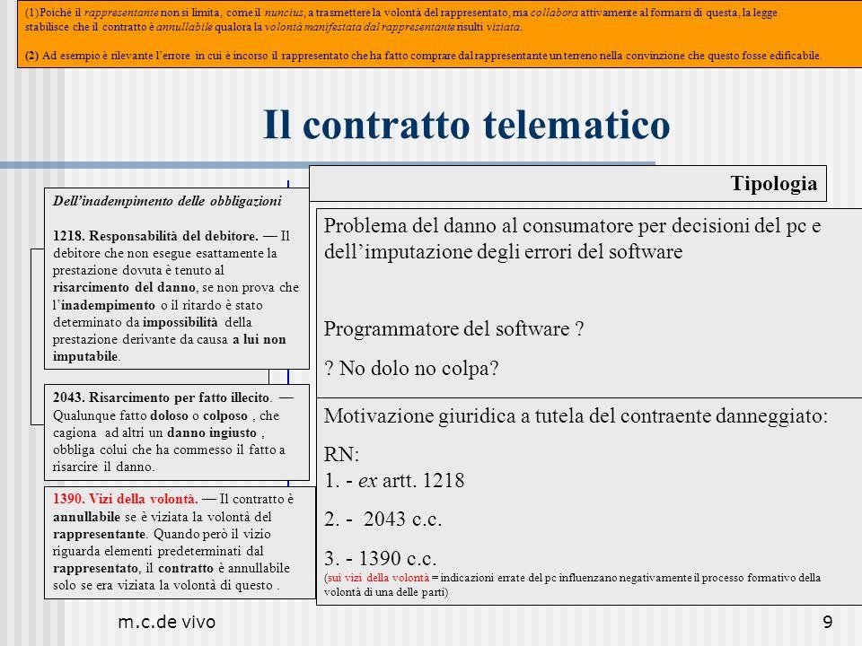 m.c.de vivo9 Il contratto telematico Tipologia Il contratto cibernetico Problema del danno al consumatore per decisioni del pc e dellimputazione degli