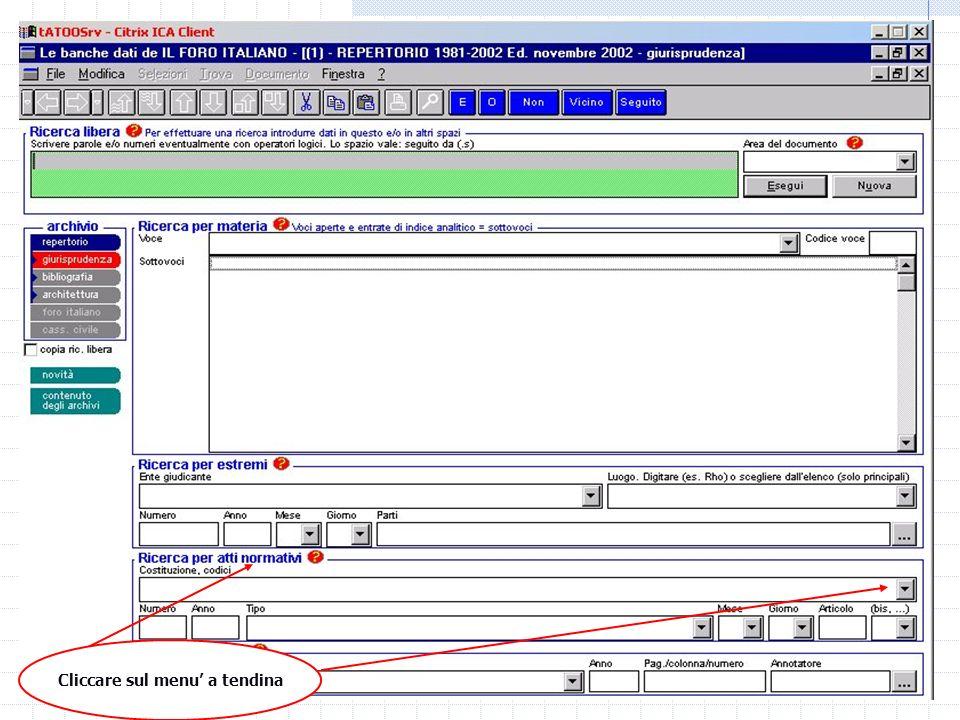06/01/2014 M.C. De Vivo concetta.devivo@unicam.it15 Laboratorio informatico Banche dati off line Repertorio Foro Italiano Sentenze (cassazione/merito)