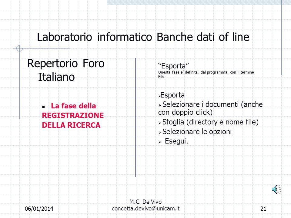06/01/2014 M.C. De Vivo concetta.devivo@unicam.it20 Laboratorio informatico Banche dati off line Repertorio Foro Italiano Ricerca libera o per termini