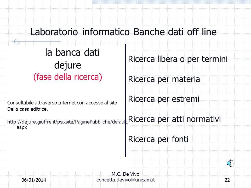 06/01/2014 M.C. De Vivo concetta.devivo@unicam.it21 Laboratorio informatico Banche dati of line Repertorio Foro Italiano La fase della REGISTRAZIONE D