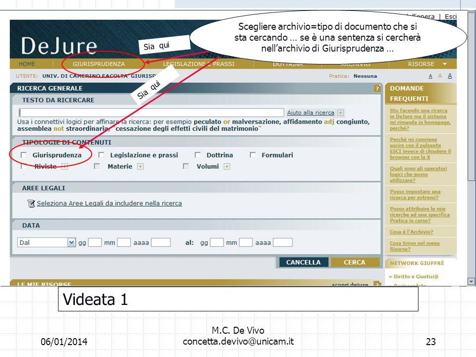 06/01/2014 M.C. De Vivo concetta.devivo@unicam.it22 Laboratorio informatico Banche dati off line la banca dati dejure (fase della ricerca) Consultabil