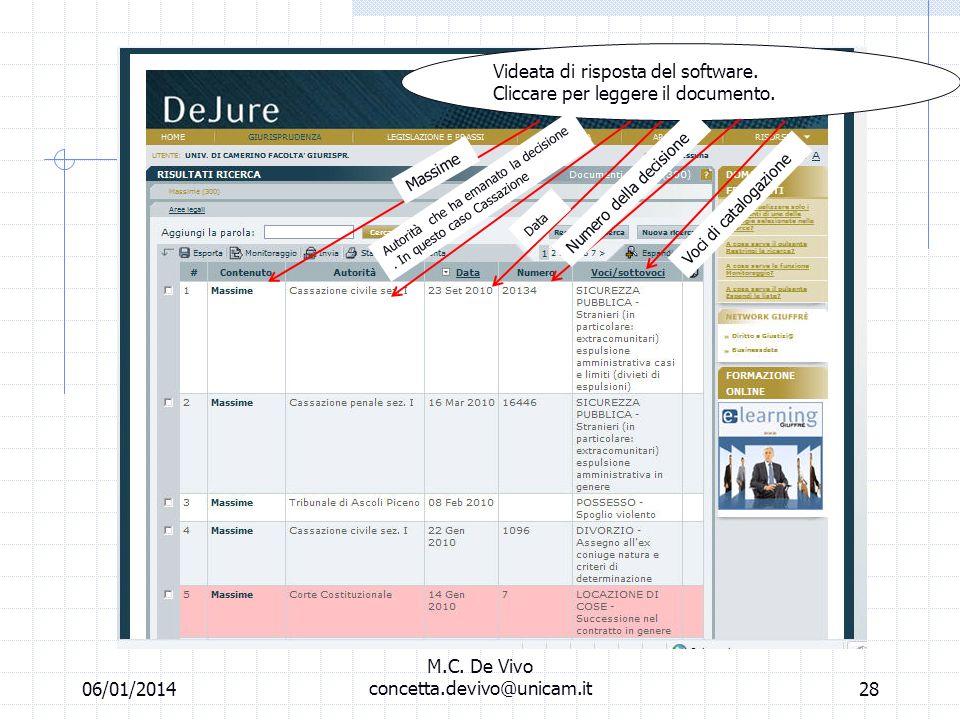 06/01/2014 M.C. De Vivo concetta.devivo@unicam.it27 Laboratorio informatico Banche dati off line Una volta riempito il form cliccare su cerca