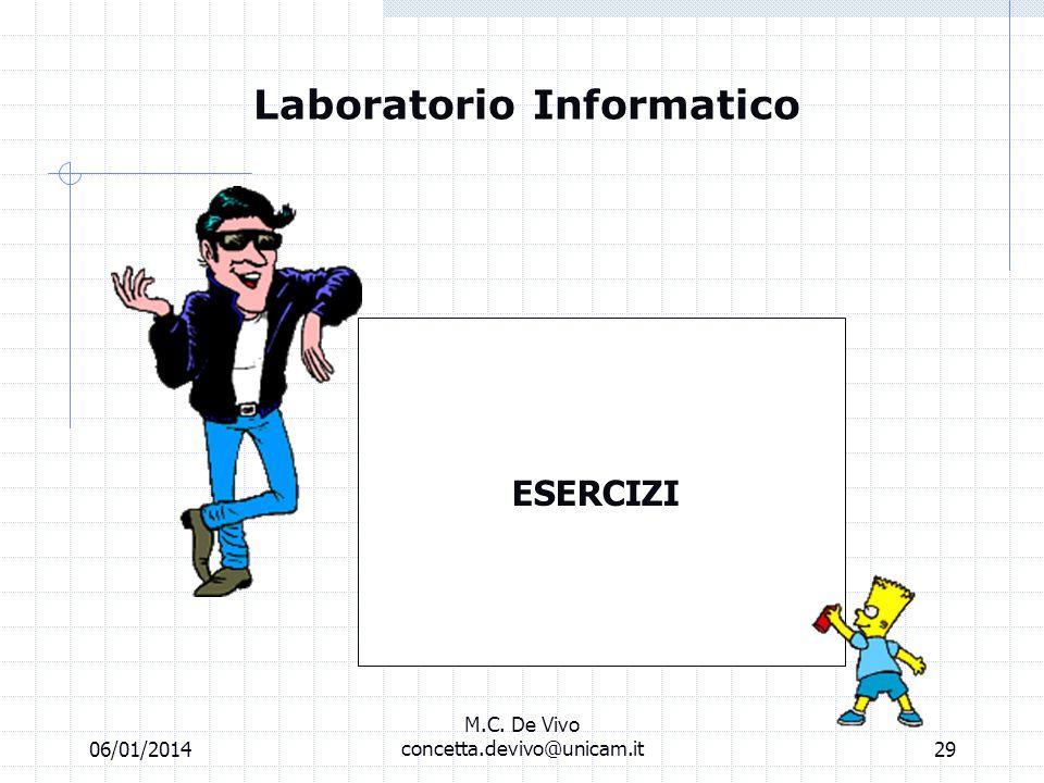 06/01/2014 M.C. De Vivo concetta.devivo@unicam.it28 Laboratorio informatico Banche dati off line Videata di risposta del software. Cliccare per legger