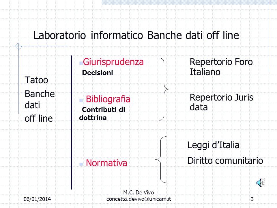 06/01/2014 M.C. De Vivo concetta.devivo@unicam.it2 Laboratorio informatico Banche dati off line