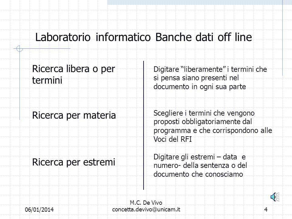 06/01/2014 M.C. De Vivo concetta.devivo@unicam.it3 Laboratorio informatico Banche dati off line Tatoo Banche dati off line Giurisprudenza Decisioni Bi