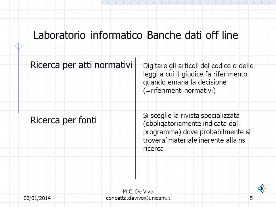 06/01/2014 M.C. De Vivo concetta.devivo@unicam.it4 Laboratorio informatico Banche dati off line Ricerca libera o per termini Ricerca per materia Ricer