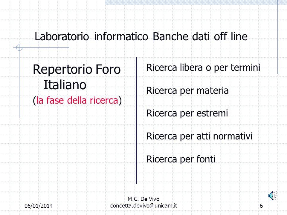 06/01/2014 M.C. De Vivo concetta.devivo@unicam.it5 Laboratorio informatico Banche dati off line Ricerca per atti normativi Ricerca per fonti Digitare