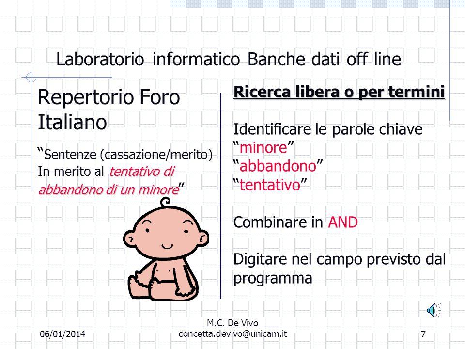 06/01/2014 M.C. De Vivo concetta.devivo@unicam.it6 Laboratorio informatico Banche dati off line Repertorio Foro Italiano (la fase della ricerca) Ricer
