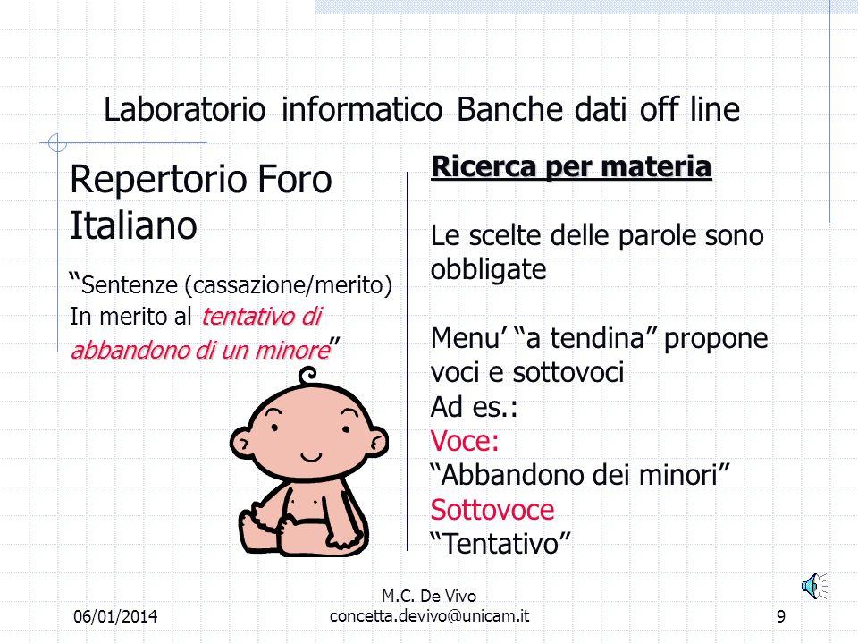06/01/2014 M.C. De Vivo concetta.devivo@unicam.it8 Laboratorio informatico Banche dati off line Repertorio Foro Italiano Ricerca libera Abbandono mino
