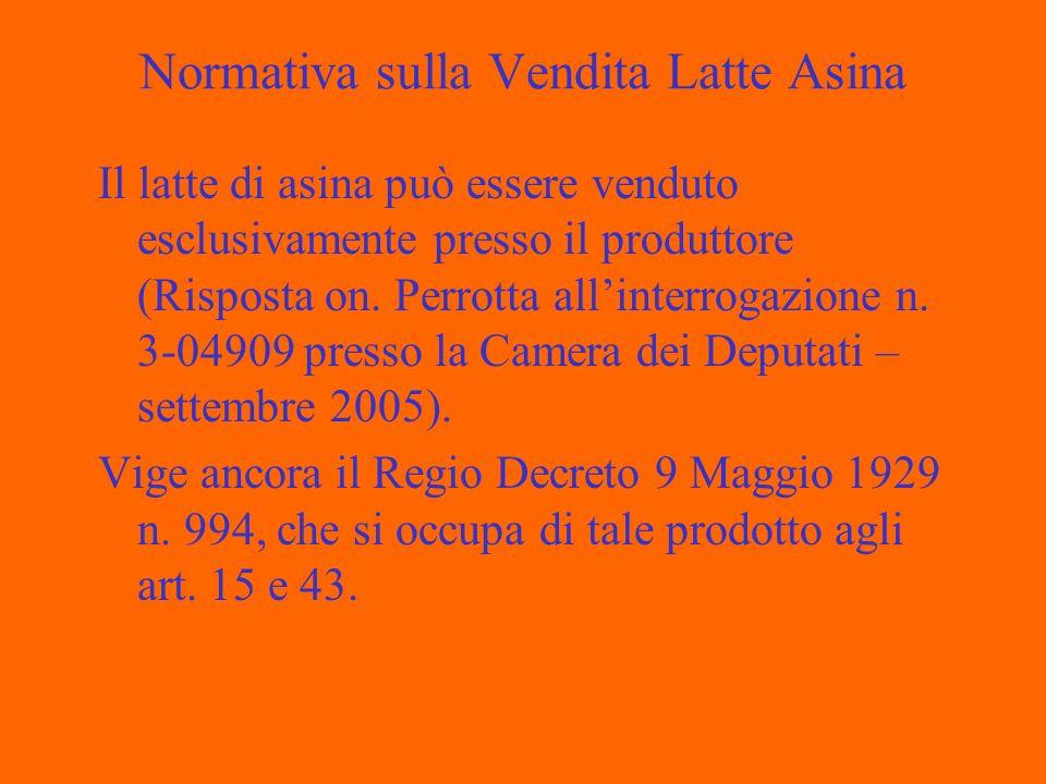 Normativa sulla Vendita Latte Asina Il latte di asina può essere venduto esclusivamente presso il produttore (Risposta on.