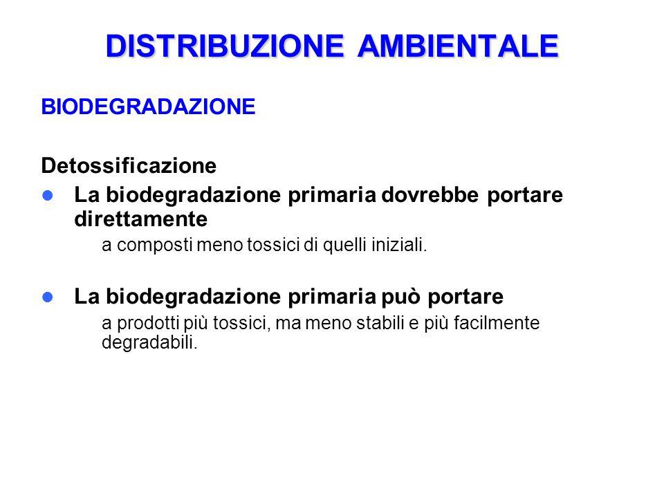 DISTRIBUZIONE AMBIENTALE BIODEGRADAZIONE Detossificazione La biodegradazione primaria dovrebbe portare direttamente – a composti meno tossici di quelli iniziali.