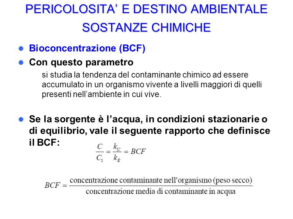 PERICOLOSITA E DESTINO AMBIENTALE SOSTANZE CHIMICHE Bioconcentrazione (BCF) Con questo parametro – si studia la tendenza del contaminante chimico ad e