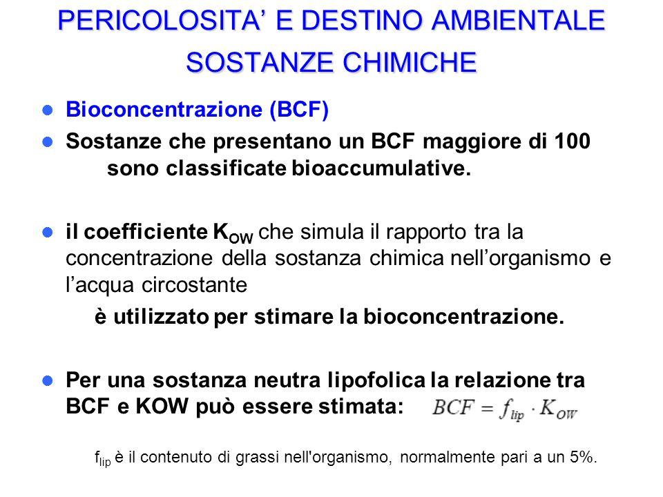 PERICOLOSITA E DESTINO AMBIENTALE SOSTANZE CHIMICHE Bioconcentrazione (BCF) Sostanze che presentano un BCF maggiore di 100 sono classificate bioaccumu