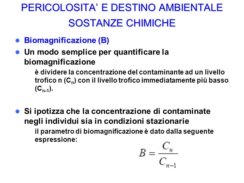 PERICOLOSITA E DESTINO AMBIENTALE SOSTANZE CHIMICHE Biomagnificazione (B) Un modo semplice per quantificare la biomagnificazione – è dividere la concentrazione del contaminante ad un livello trofico n (C n ) con il livello trofico immediatamente più basso (C n-1 ).