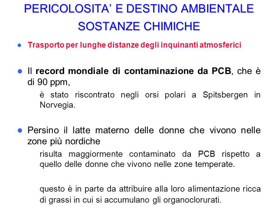 PERICOLOSITA E DESTINO AMBIENTALE SOSTANZE CHIMICHE Trasporto per lunghe distanze degli inquinanti atmosferici Il record mondiale di contaminazione da