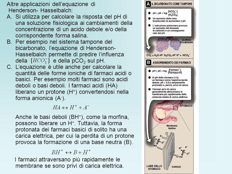Altre applicazioni dellequazione di Henderson- Hasselbalch: A.Si utilizza per calcolare la risposta del pH di una soluzione fisiologica ai cambiamenti