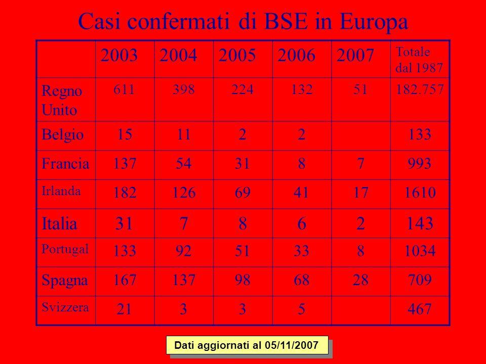 Casi confermati di BSE in Europa 20032004200520062007 Totale dal 1987 Regno Unito 61139822413251182.757 Belgio151122133 Francia137543187993 Irlanda 18
