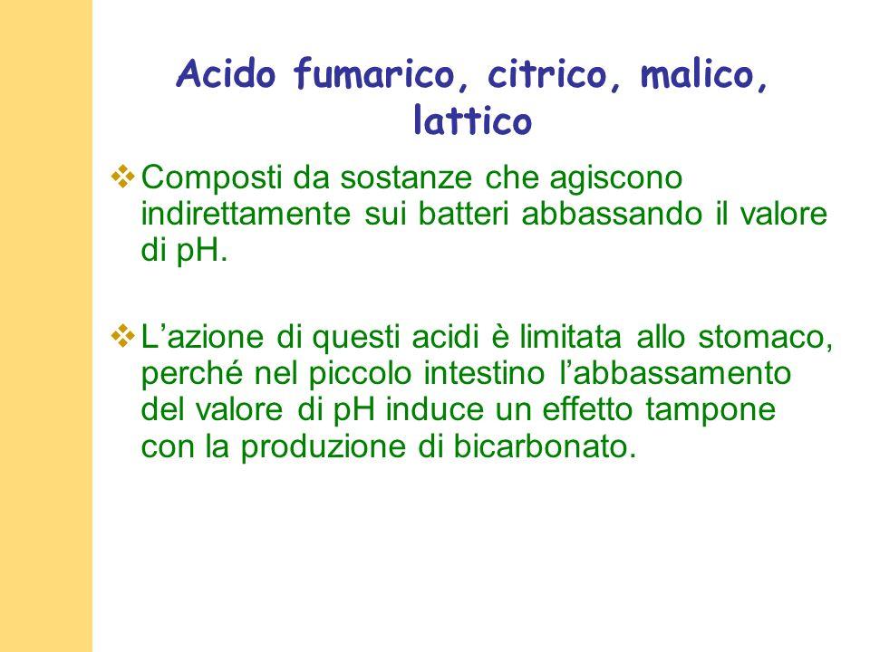 Acido fumarico, citrico, malico, lattico Composti da sostanze che agiscono indirettamente sui batteri abbassando il valore di pH.