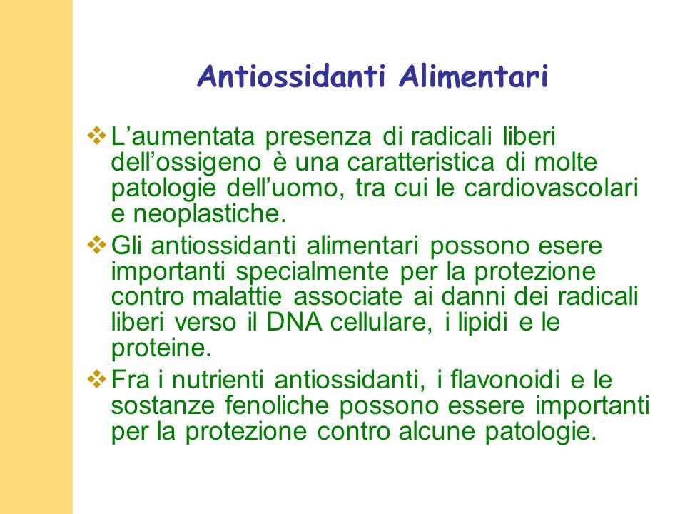 Antiossidanti Alimentari Laumentata presenza di radicali liberi dellossigeno è una caratteristica di molte patologie delluomo, tra cui le cardiovascolari e neoplastiche.