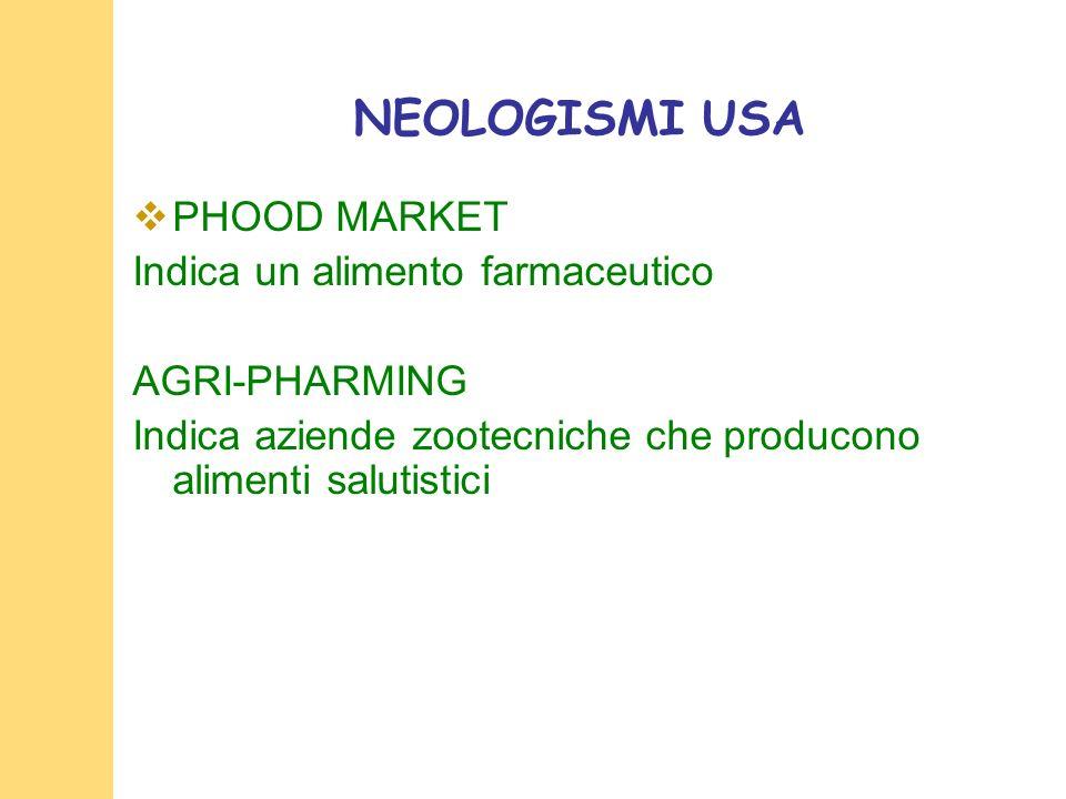 NEOLOGISMI USA PHOOD MARKET Indica un alimento farmaceutico AGRI-PHARMING Indica aziende zootecniche che producono alimenti salutistici