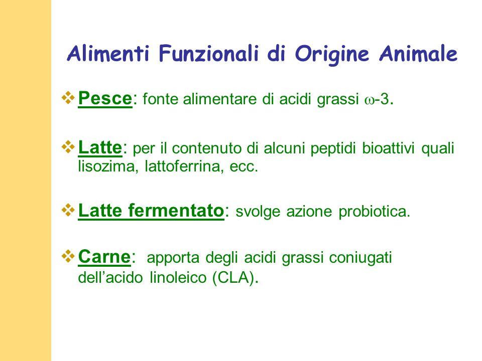 Alimenti Funzionali di Origine Animale Pesce: fonte alimentare di acidi grassi -3.