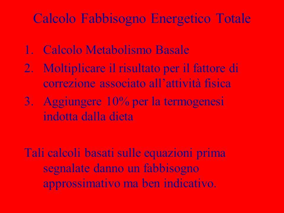 Calcolo Fabbisogno Energetico Totale 1.Calcolo Metabolismo Basale 2.Moltiplicare il risultato per il fattore di correzione associato allattività fisic
