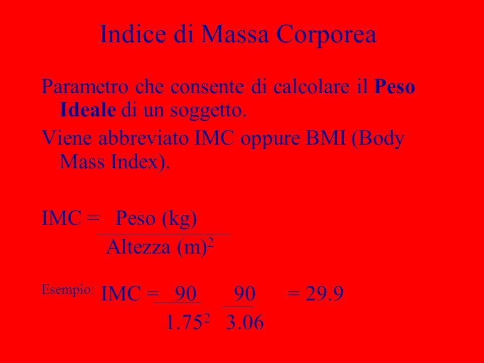 Indice di Massa Corporea Parametro che consente di calcolare il Peso Ideale di un soggetto. Viene abbreviato IMC oppure BMI (Body Mass Index). IMC = P
