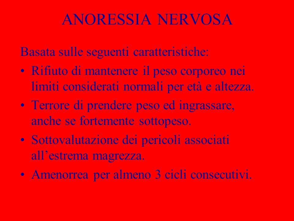 ANORESSIA NERVOSA Basata sulle seguenti caratteristiche: Rifiuto di mantenere il peso corporeo nei limiti considerati normali per età e altezza. Terro