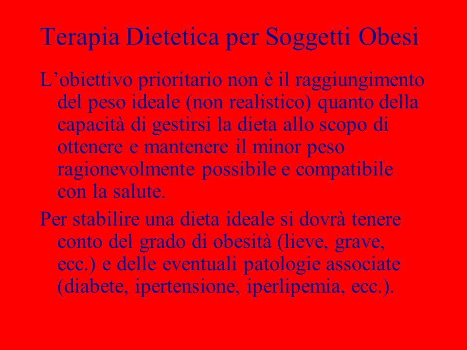 Terapia Dietetica per Soggetti Obesi Lobiettivo prioritario non è il raggiungimento del peso ideale (non realistico) quanto della capacità di gestirsi