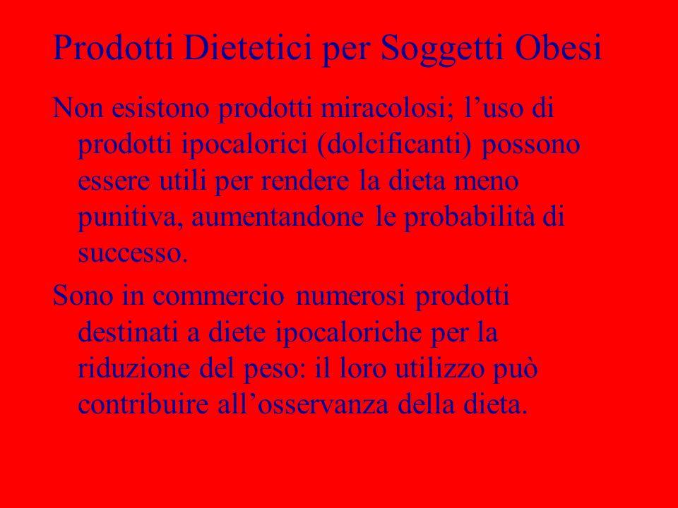 Prodotti Dietetici per Soggetti Obesi Non esistono prodotti miracolosi; luso di prodotti ipocalorici (dolcificanti) possono essere utili per rendere l