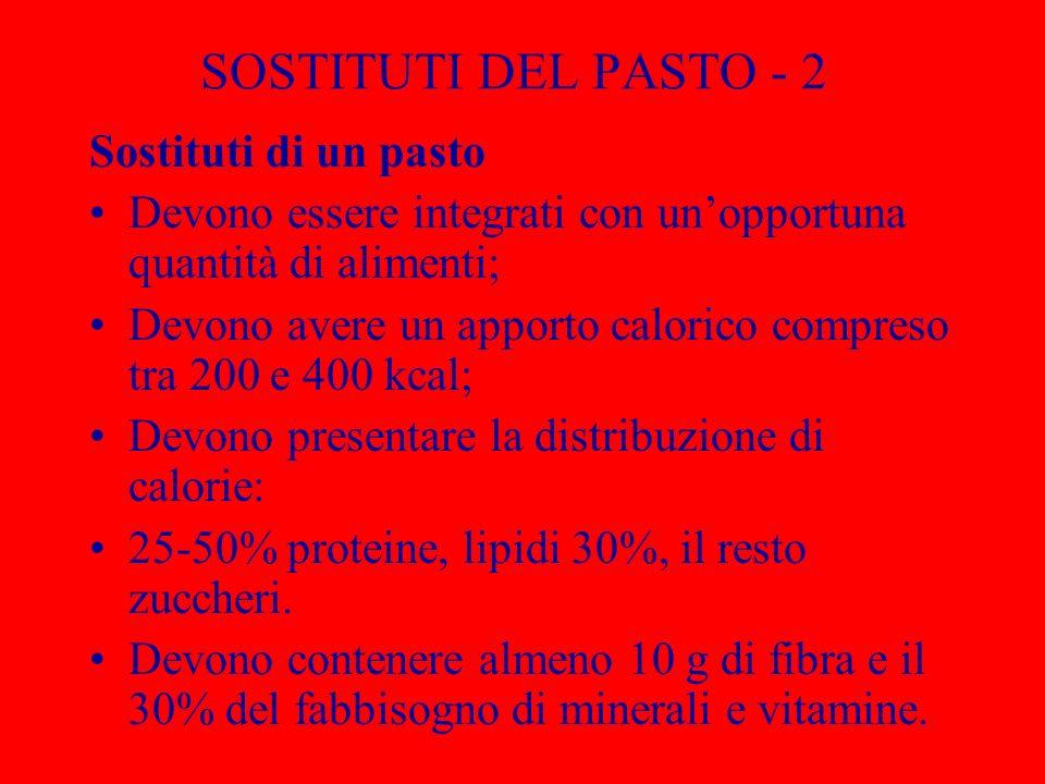 SOSTITUTI DEL PASTO - 2 Sostituti di un pasto Devono essere integrati con unopportuna quantità di alimenti; Devono avere un apporto calorico compreso