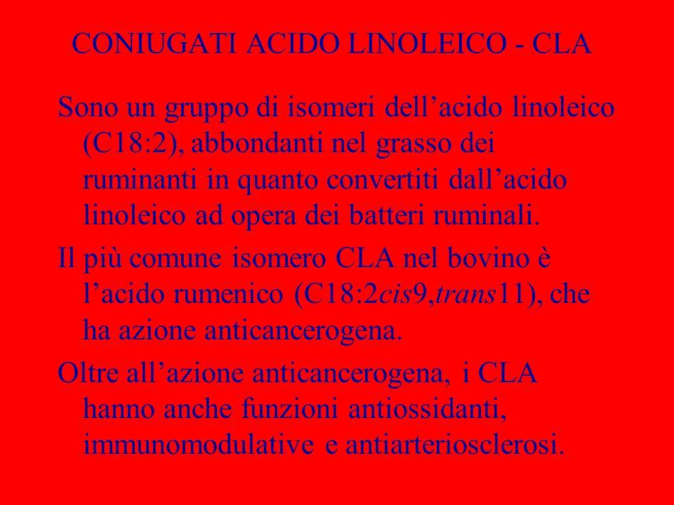 CONIUGATI ACIDO LINOLEICO - CLA Sono un gruppo di isomeri dellacido linoleico (C18:2), abbondanti nel grasso dei ruminanti in quanto convertiti dallac