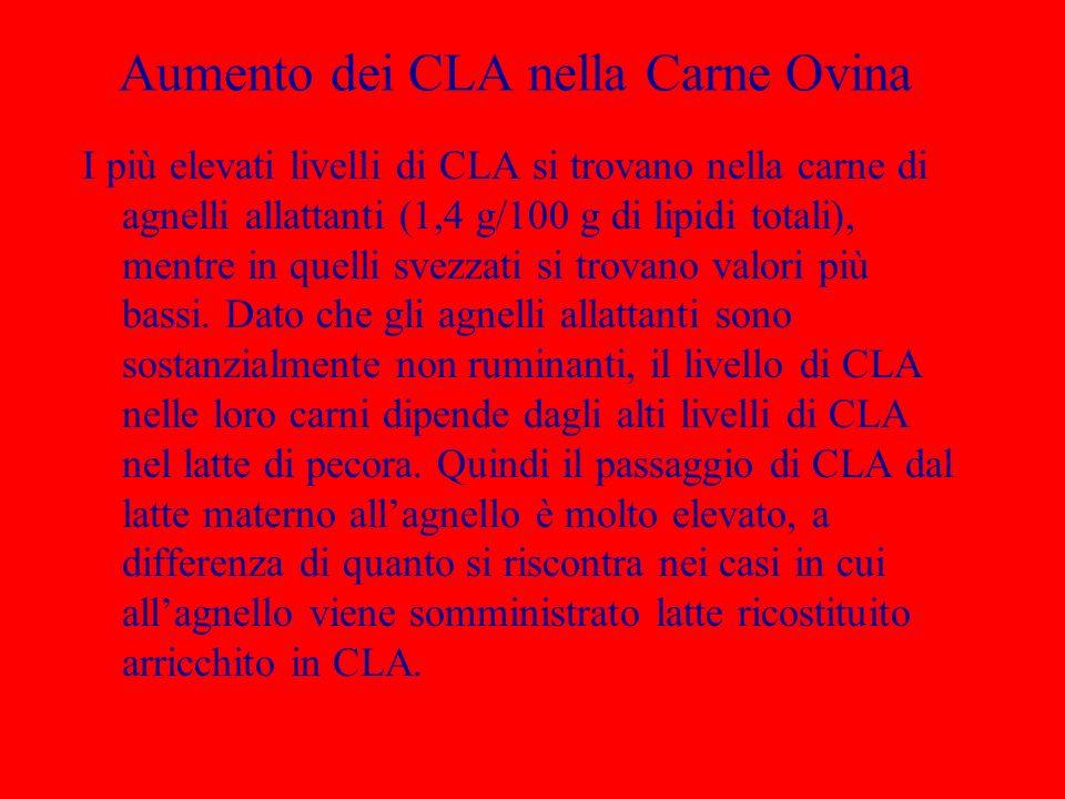 Aumento dei CLA nella Carne Ovina I più elevati livelli di CLA si trovano nella carne di agnelli allattanti (1,4 g/100 g di lipidi totali), mentre in