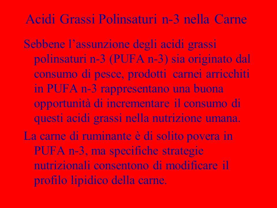 Acidi Grassi Polinsaturi n-3 nella Carne Sebbene lassunzione degli acidi grassi polinsaturi n-3 (PUFA n-3) sia originato dal consumo di pesce, prodott