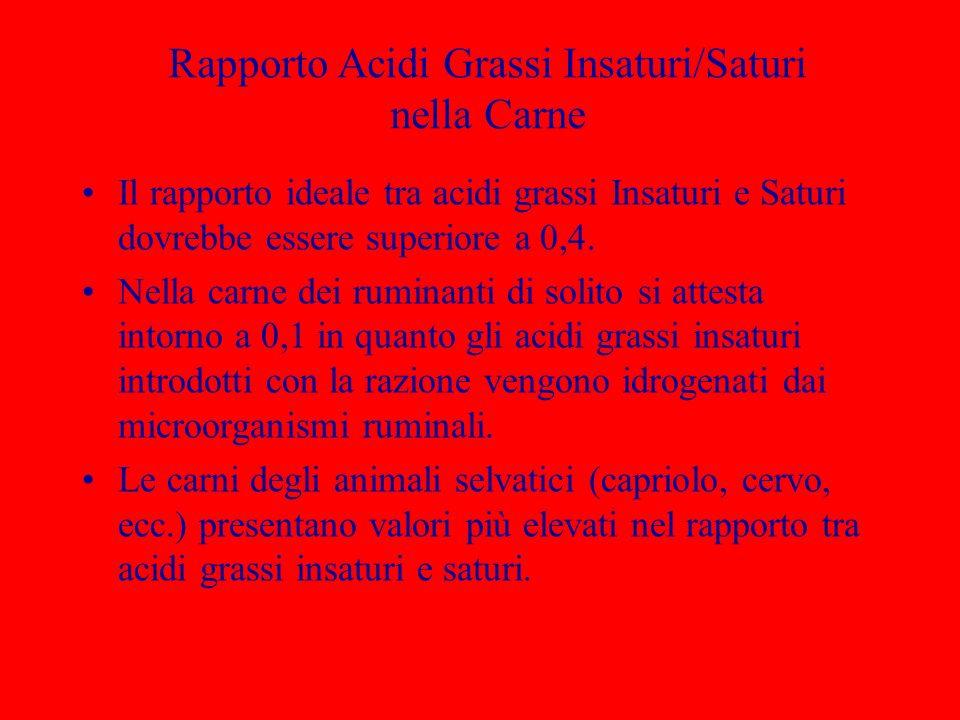 Rapporto Acidi Grassi Insaturi/Saturi nella Carne Il rapporto ideale tra acidi grassi Insaturi e Saturi dovrebbe essere superiore a 0,4. Nella carne d