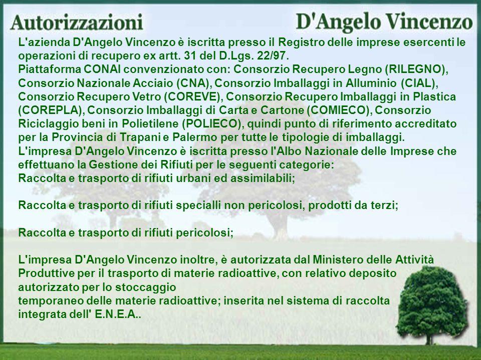 L'azienda D'Angelo Vincenzo è iscritta presso il Registro delle imprese esercenti le operazioni di recupero ex artt. 31 del D.Lgs. 22/97. Piattaforma