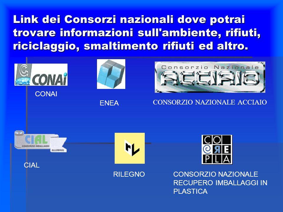 Link dei Consorzi nazionali dove potrai trovare informazioni sull'ambiente, rifiuti, riciclaggio, smaltimento rifiuti ed altro. CONAI ENEA CONSORZIO N