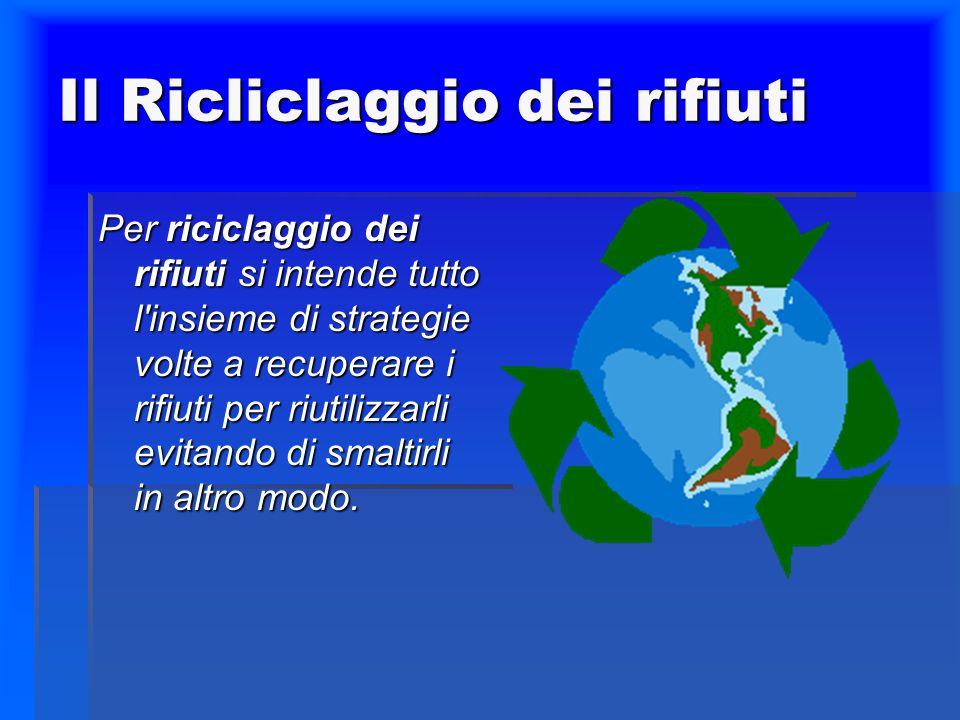 Il Ricliclaggio dei rifiuti Per riciclaggio dei rifiuti si intende tutto l'insieme di strategie volte a recuperare i rifiuti per riutilizzarli evitand