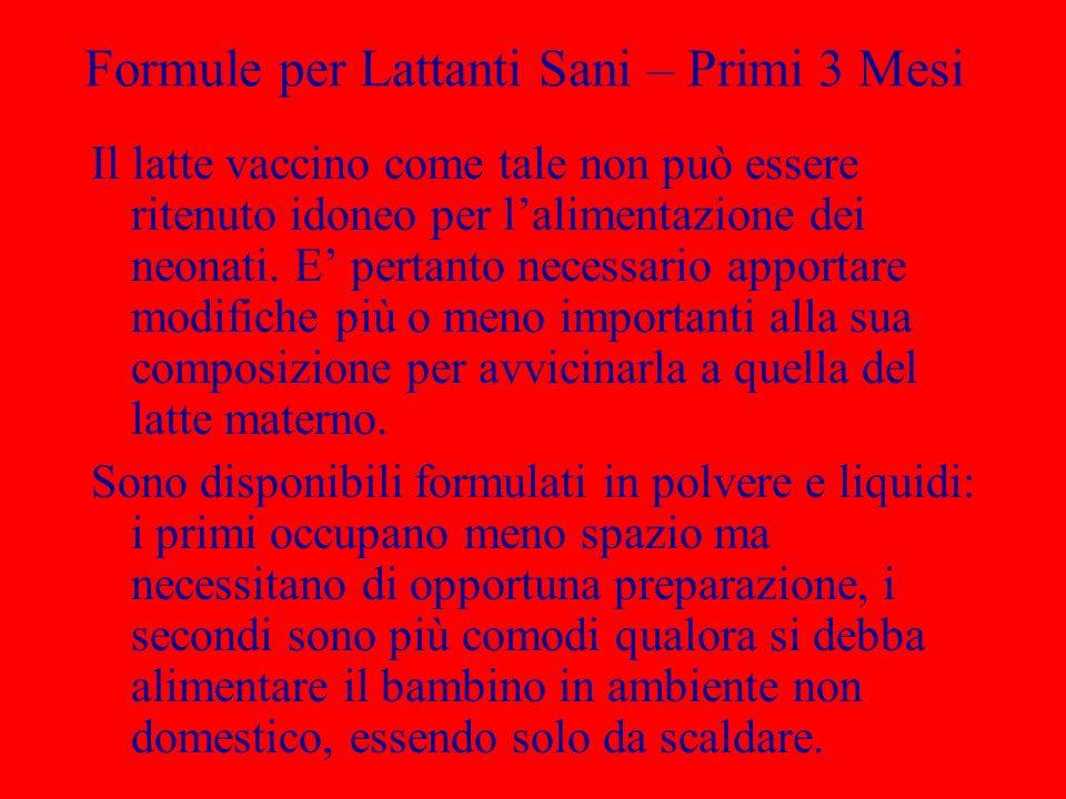 Formule per Lattanti Sani – Primi 3 Mesi Il latte vaccino come tale non può essere ritenuto idoneo per lalimentazione dei neonati. E pertanto necessar