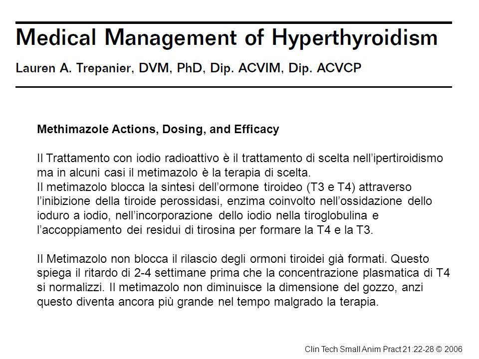 Methimazole Actions, Dosing, and Efficacy Il Trattamento con iodio radioattivo è il trattamento di scelta nellipertiroidismo ma in alcuni casi il meti