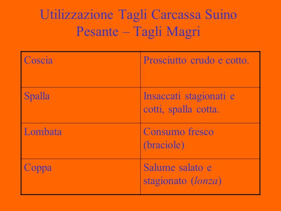 Utilizzazione Tagli Carcassa Suino Pesante – Tagli Magri CosciaProsciutto crudo e cotto.