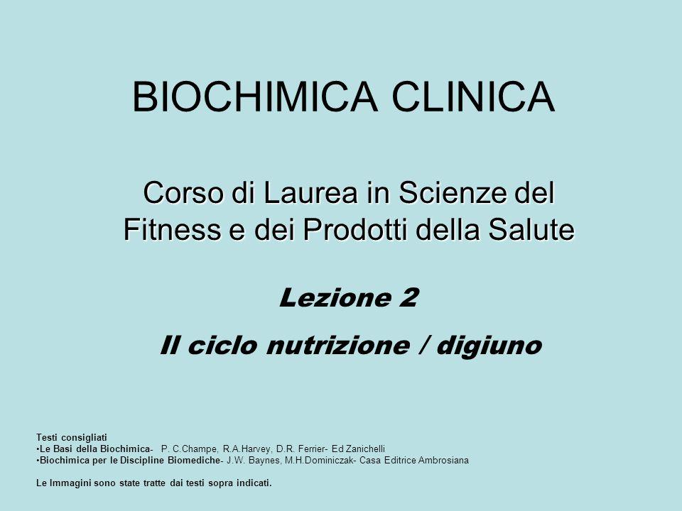 BIOCHIMICA CLINICA Corso di Laurea in Scienze del Fitness e dei Prodotti della Salute Lezione 2 Il ciclo nutrizione / digiuno Testi consigliati Le Bas