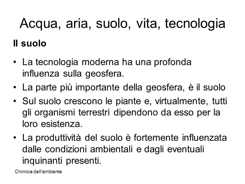 Chimica dell'ambiente Acqua, aria, suolo, vita, tecnologia II suolo La tecnologia moderna ha una profonda influenza sulla geosfera. La parte più impor