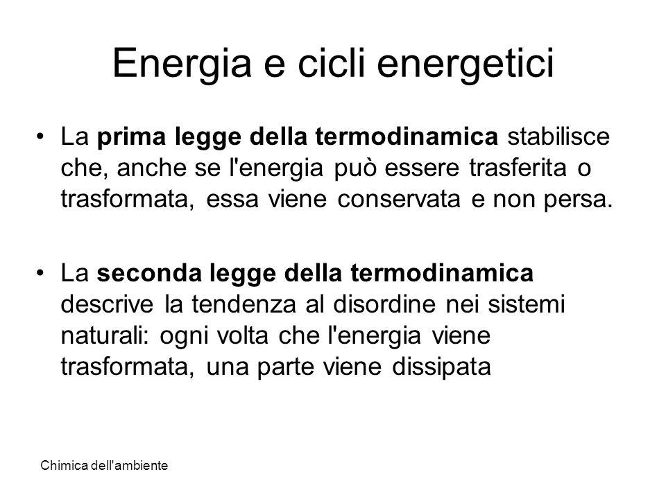 Chimica dell'ambiente Energia e cicli energetici La prima legge della termodinamica stabilisce che, anche se l'energia può essere trasferita o trasfor