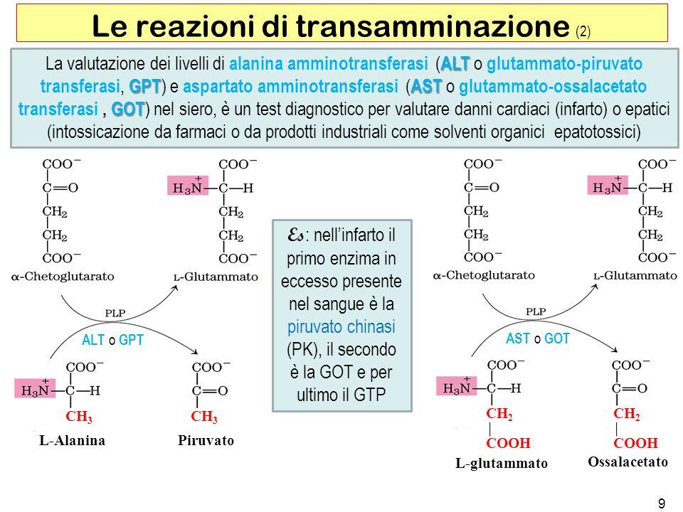 9 Le reazioni di transamminazione (2) ALT GPTAST GOT La valutazione dei livelli di alanina amminotransferasi ( ALT o glutammato-piruvato transferasi,