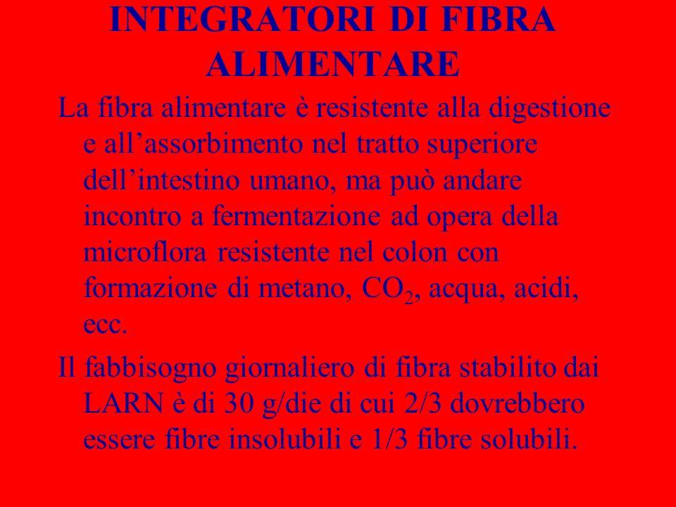 INTEGRATORI DI FIBRA ALIMENTARE La fibra alimentare è resistente alla digestione e allassorbimento nel tratto superiore dellintestino umano, ma può an
