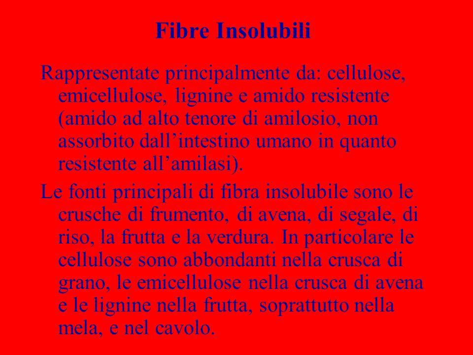 Fibre Insolubili Rappresentate principalmente da: cellulose, emicellulose, lignine e amido resistente (amido ad alto tenore di amilosio, non assorbito