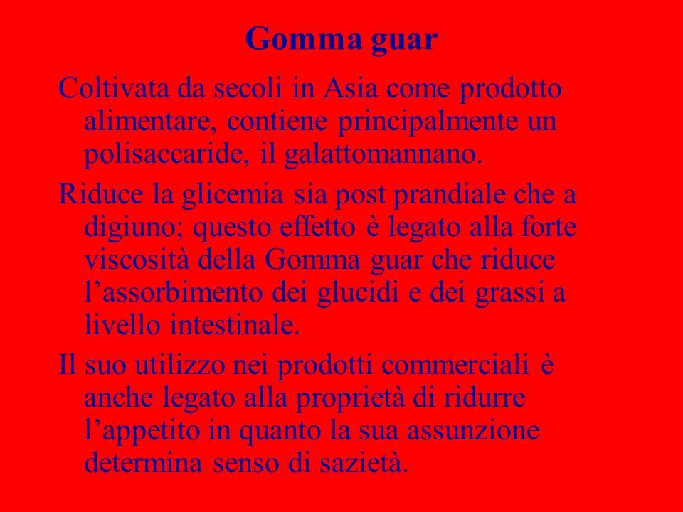 Gomma guar Coltivata da secoli in Asia come prodotto alimentare, contiene principalmente un polisaccaride, il galattomannano. Riduce la glicemia sia p