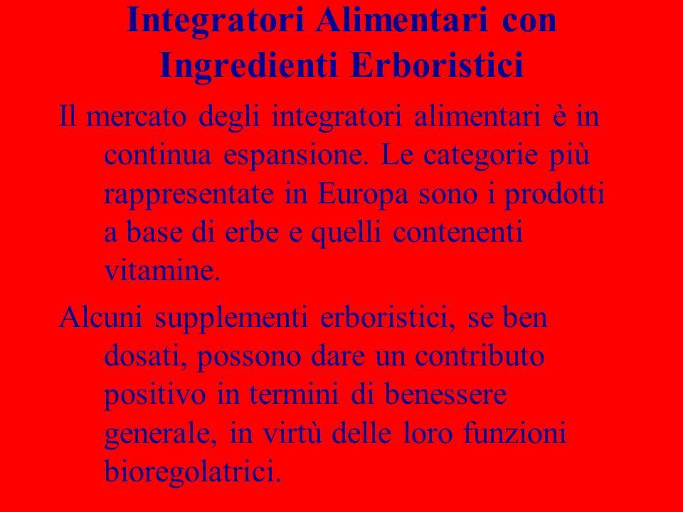 Integratori Alimentari con Ingredienti Erboristici Il mercato degli integratori alimentari è in continua espansione. Le categorie più rappresentate in